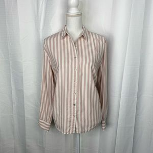 A New Day Pale Pink and White Striped Button Up
